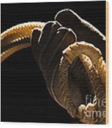 Cowboy Hand Holding Lasso Wood Print by Olivier Le Queinec