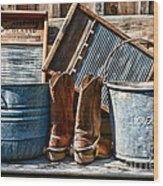 Cowboys Have Laundry Too Wood Print by Paul Ward