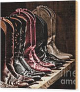 Cowgirl Boots Collection Wood Print by Olivier Le Queinec