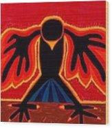 Crow Rising Original Painting Wood Print by Sol Luckman
