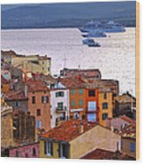 Cruise Ships At St.tropez Wood Print by Elena Elisseeva