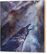 Cry Of The Raven Wood Print by Carol Cavalaris