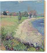 Curving Beach Wood Print by William James Glackens