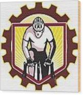 Cyclist Riding Bicycle Cycling Front Sprocket Retro Wood Print by Aloysius Patrimonio