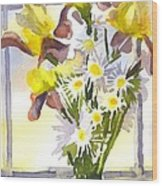 Daisies With Yellow Irises Wood Print by Kip DeVore
