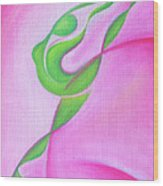 Dancing Sprite In Pink And Green Wood Print by Tiffany Davis-Rustam