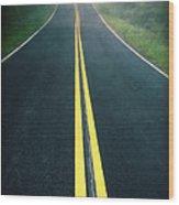 Dark Foggy Country Road Wood Print by Edward Fielding
