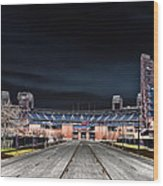 Dark Skies At Citizens Bank Park Wood Print by Bill Cannon