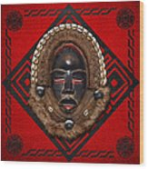 Dean Gle Mask By Dan People Of The Ivory Coast And Liberia On Red Leather Wood Print by Serge Averbukh