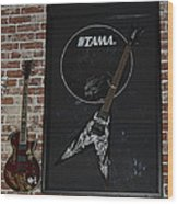 Death By Stereo Band Memorabilia-autographed Guitar Wood Print by Renee Anderson