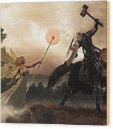 Death Knight And Fairy Queen Wood Print by Daniel Eskridge