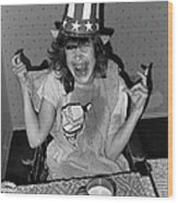 Debbie C. Celebrating July 4th Lincoln Gardens Tucson Arizona 1990 Wood Print by David Lee Guss
