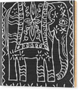 Decorated Elephant Wood Print by Caroline Street