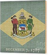 Delaware State Flag Wood Print by Pixel Chimp