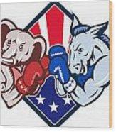 Democrat Donkey Republican Elephant Mascot Boxing Wood Print by Aloysius Patrimonio