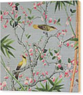 Detail Of The 18th Century Wallpaper In The Drawing Room Photograph Wood Print by John Bethell