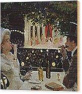 Dinner At Les Ambassadeurs Wood Print by  Jean Beraud