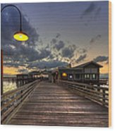 Dock Lights At Jekyll Island Wood Print by Debra and Dave Vanderlaan