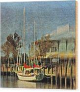 Docked Wood Print by Kathy Jennings