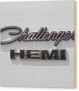 Dodge Challenger Hemi Emblem Wood Print by Jill Reger