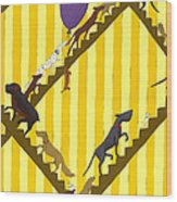 Dogs Going Up Stairs Wood Print by Christy Beckwith