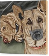 Dogs Wood Print by Karen Sheltrown
