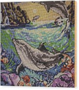 Dolphins Game Wood Print by Eugen Mihalascu