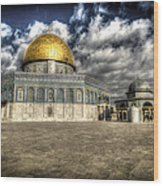 Dome Of The Rock Closeup Hdr Wood Print by David Morefield