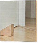 Door Stopper Wood Print by Tom Gowanlock