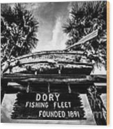Dory Fishing Fleet Sign Picture In Newport Beach Wood Print by Paul Velgos