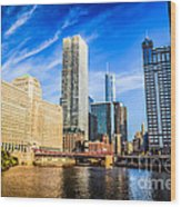 Downtown Chicago At Franklin Street Bridge Picture Wood Print by Paul Velgos