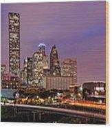 Downtown Houston Texas Skyline Beating Heart Of A Bustling City Wood Print by Silvio Ligutti