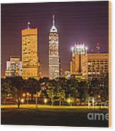 Downtown Indianapolis Skyline At Night Picture Wood Print by Paul Velgos