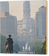 Downtown Philadelphia - Benjamin Franklin Parkway Wood Print by Simon Wolter