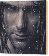 Dramatic Portrait Of Man Wet Face With Long Hair Wood Print by Oleksiy Maksymenko