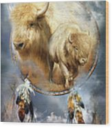 Dream Catcher - Spirit Of The White Buffalo Wood Print by Carol Cavalaris