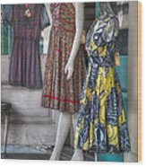 Dresses For Sale Wood Print by Brenda Bryant