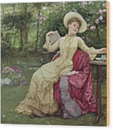 Drinking Coffee And Reading In The Garden Wood Print by Edward Killingworth Johnson