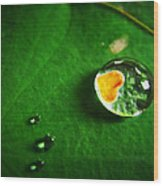 Droplet Of Love Wood Print by Suradej Chuephanich