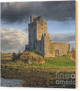 Dunguaire Castle With Dramatic Sky Kinvara Galway Ireland Wood Print by Juli Scalzi