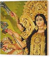 Durga Idol Wood Print by Money Sharma