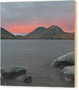 Dusk At Jordan Pond And The Bubbles Wood Print by Juergen Roth