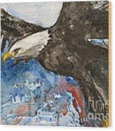 Eagle In Flight Wood Print by Ismeta Gruenwald