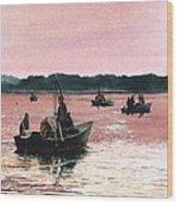 Early Morning Scallopers Wood Print by Karol Wyckoff