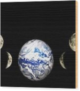 Earth And Phases Of The Moon Wood Print by Bob Orsillo