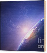 Earth Sunrise In Foggy Space Wood Print by Johan Swanepoel