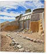 Earthship Taos  Wood Print by Shanna Gillette