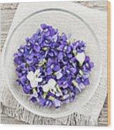 Edible Violets  Wood Print by Elena Elisseeva