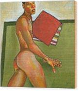 Eduardo On Green Blanket Wood Print by Douglas Simonson
