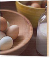 Eggs Bowls And Milk Wood Print by Toni Hopper